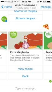 Sending a pizza emoji brings up pizza recipes